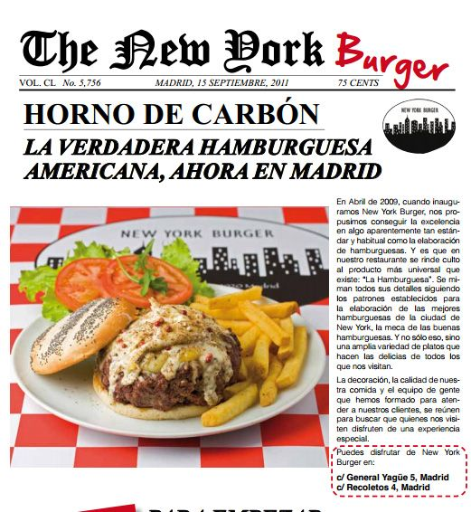 Restaurante: New York Burger, en Madrid. La carta
